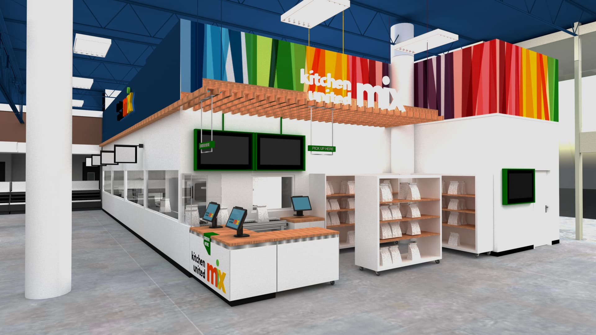 A rendering of a Kitchen United space in a Kroger grocery store
