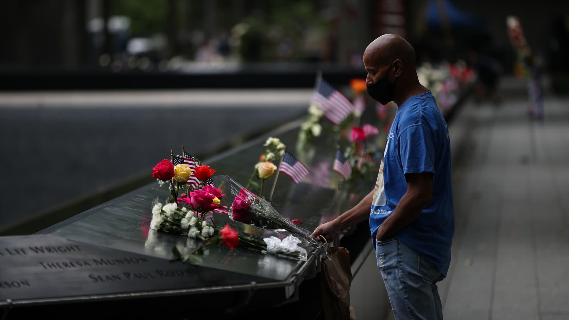 Family members of 9/11 victims tribute their loved ones on the 19th anniversary of September 11 attacks in New York City, United States on September 11, 2020.