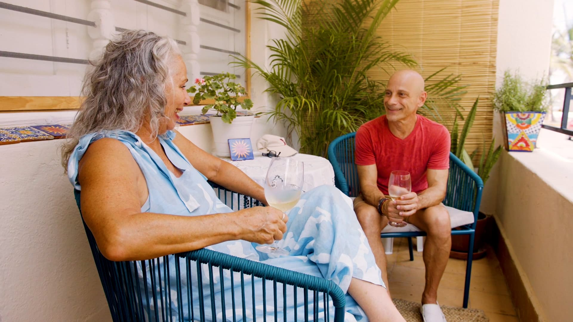 Did someone say Happy Hour? My balcony is the perfect place to get together with my friend Ray.