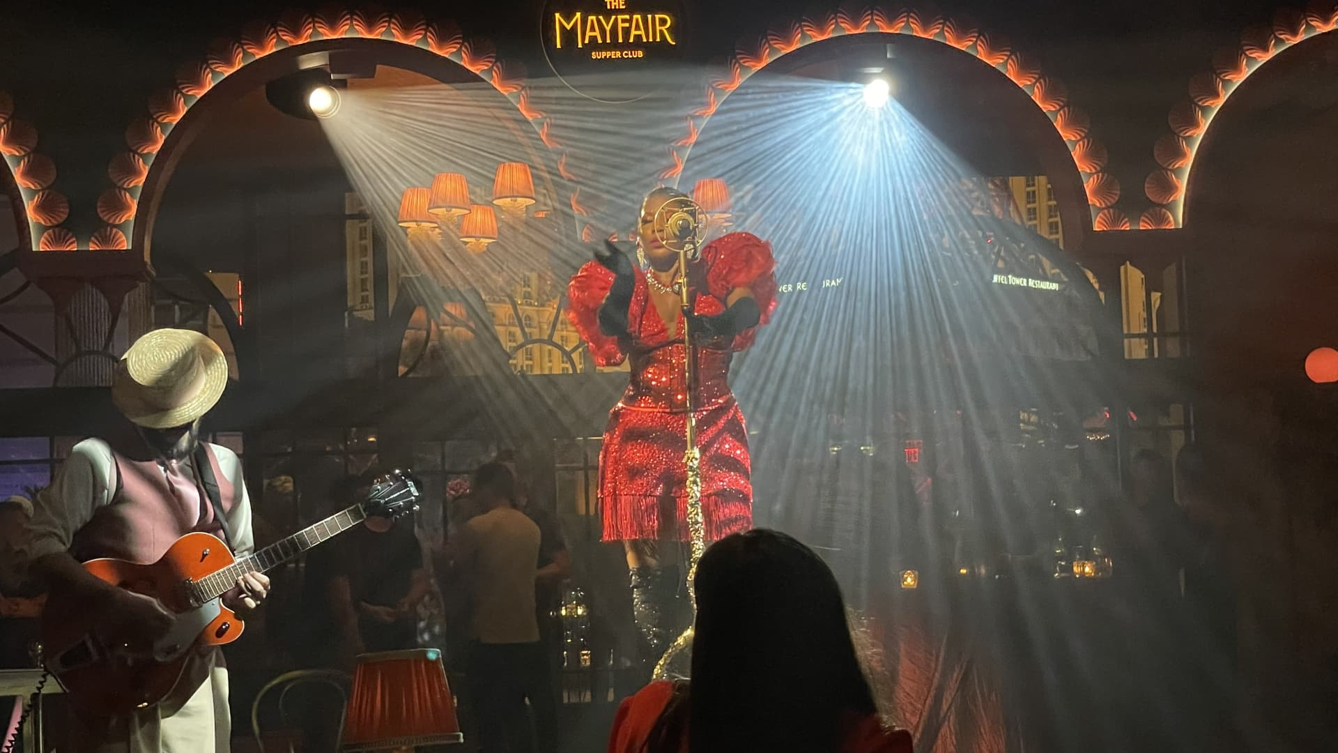 Performers entertain Amazon sellers at an exclusive after party thrown by Amazon aggregator Thrasio at The Bellagio in Las Vegas, Nevada, on July 14, 2021.