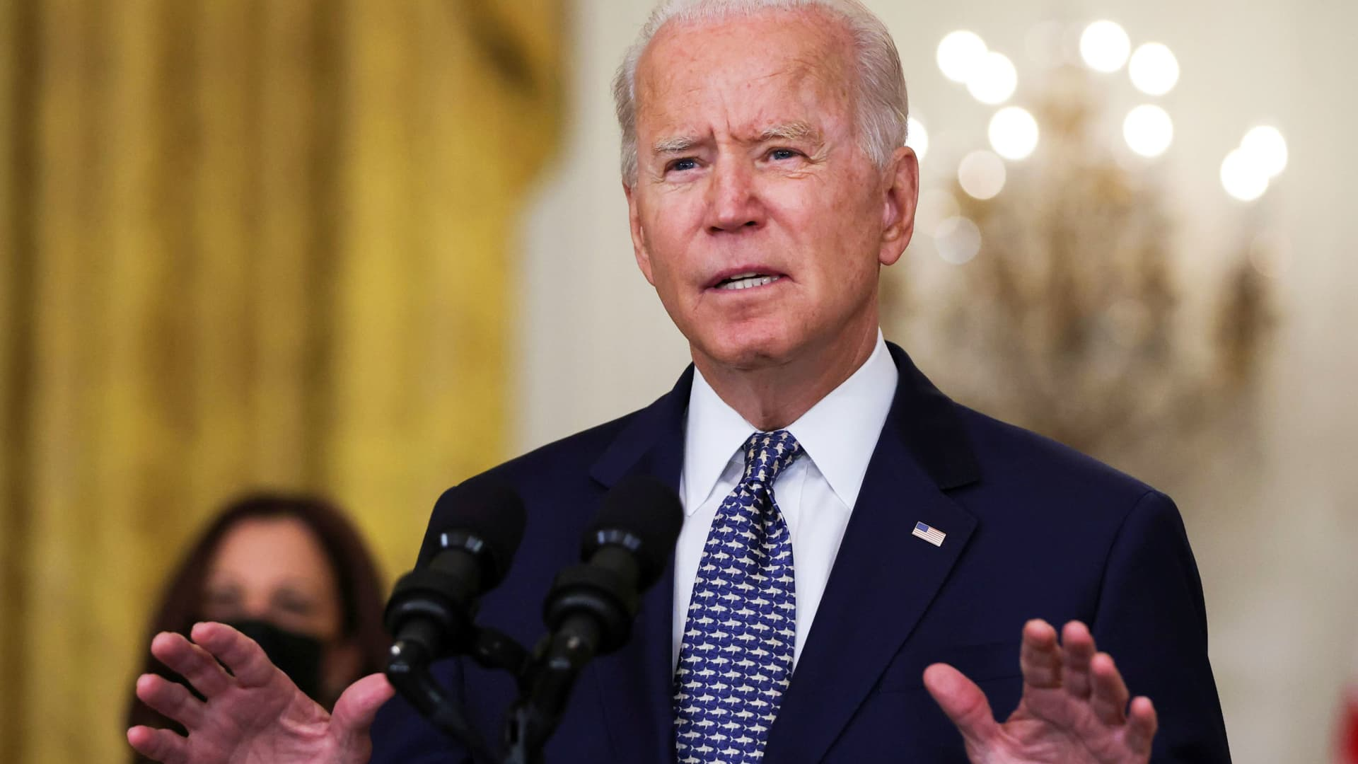 U.S. President Joe Biden discusses the U.S. Senate's passage of the $1 trillion bipartisan infrastructure bill, during a meeting in the State Dining Room at the White House in Washington, August 10, 2021.