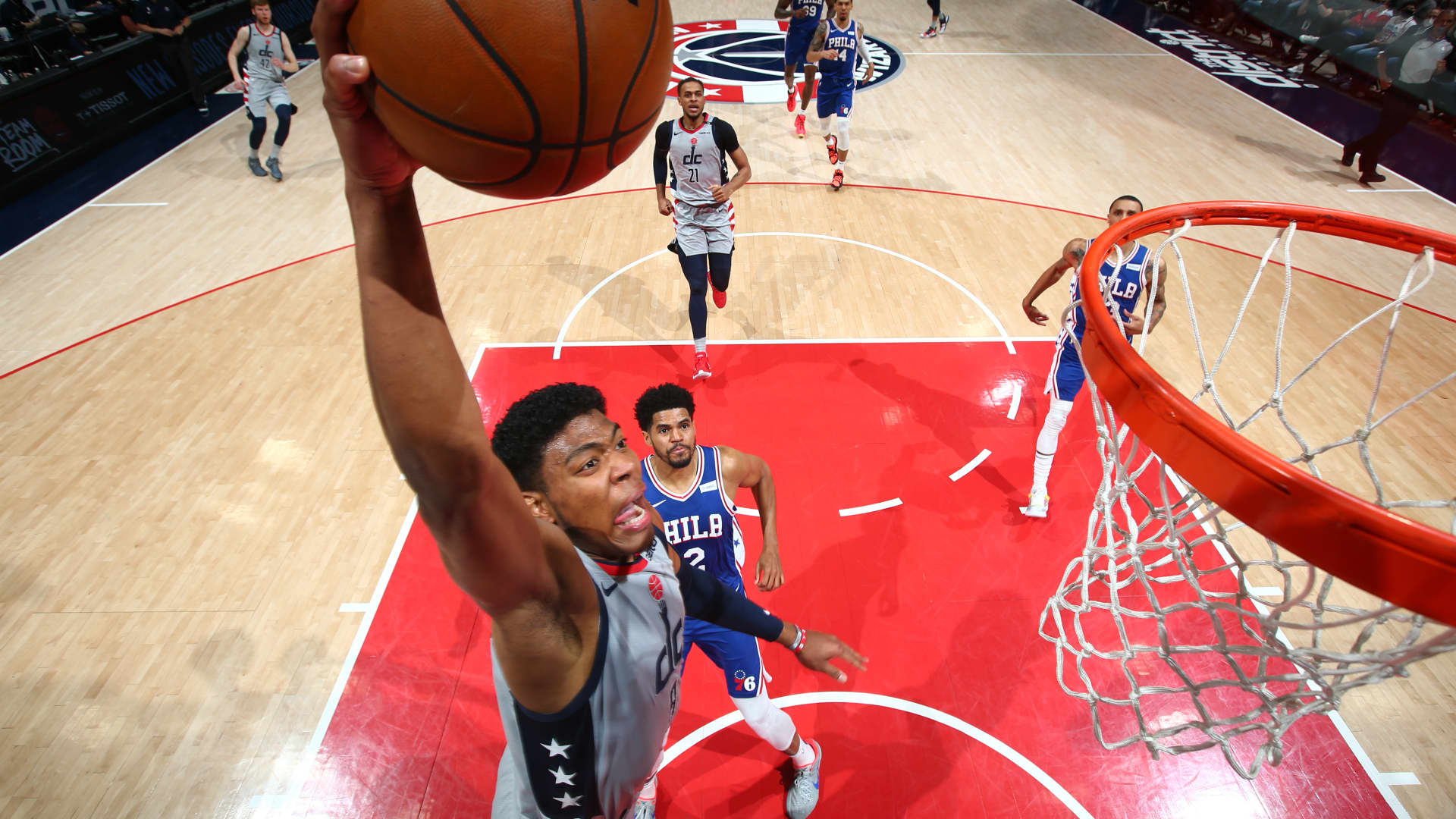 Rui Hachimura #8 of the Washington Wizards dunks the ball during the game against the Philadelphia 76ers during Round 1, Game 4 of the 2021 NBA Playoffs on May 31, 2021 at Capital One Arena in Washington, DC.