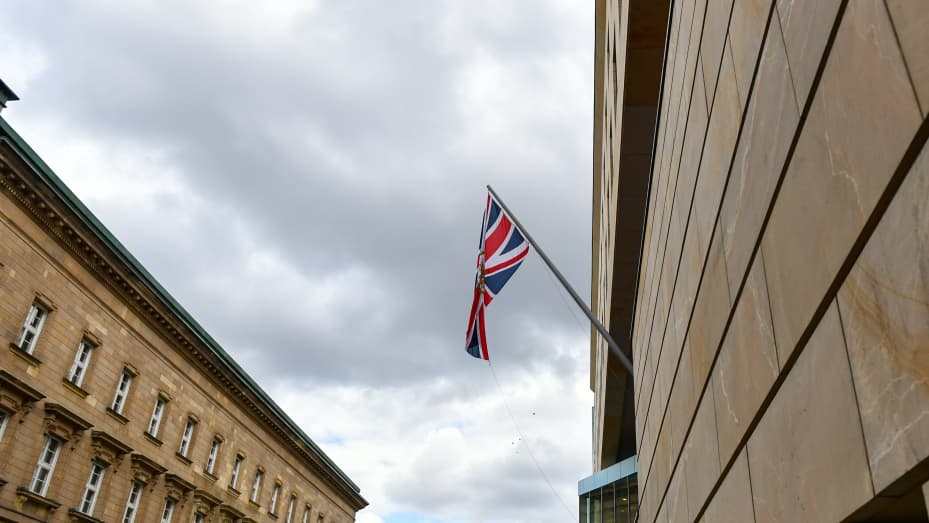 The British flag flies at the British Embassy in Berlin, Germany on May 12, 2020.