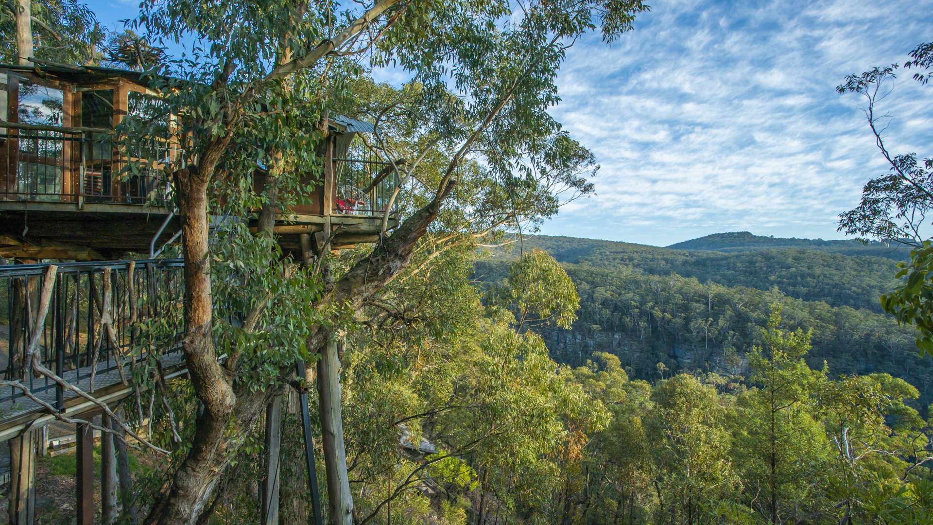 In a twist on childhood clubhouse rules, this treehouse in Australia's Blue Mountains can accommodate two adults, but no kids or pets.