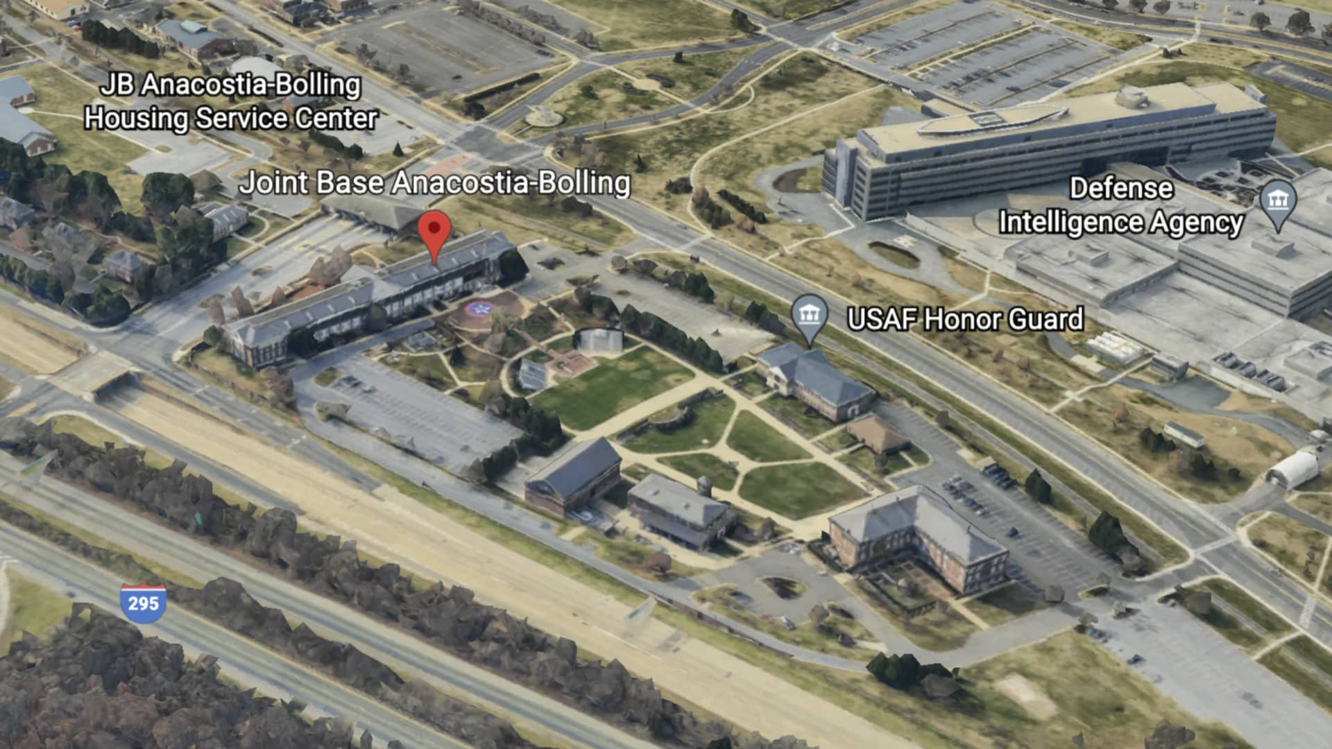 Google Earth viewo of Anacostia-Bolling Air Force Base, DC.