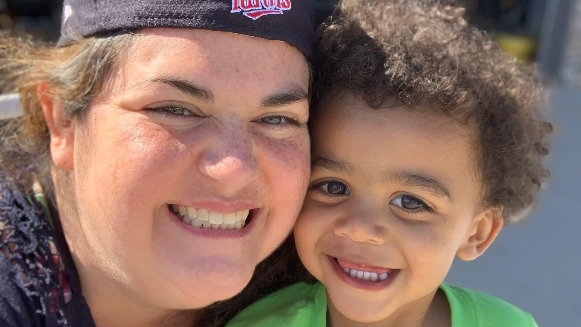 Lauren Fine and her son.
