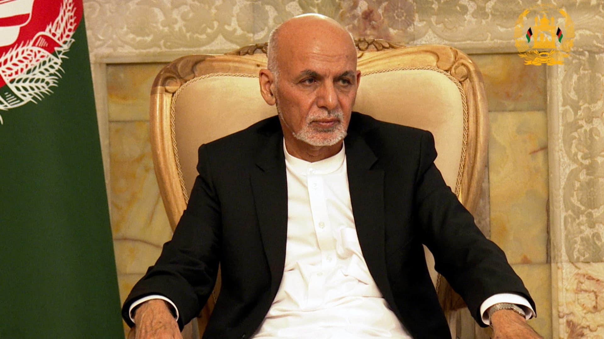 Afghanistan's President Ashraf Ghani attends a security meeting in Kabul, Afghanistan August 14, 2021.