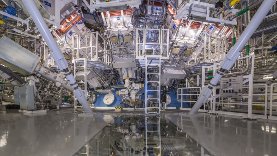 The National Ignition Facility at the Lawrence Livermore National Laboratory in Livermore, Calif. The blue sphere in the center is the Target Chamber where the fusion reactions occur.