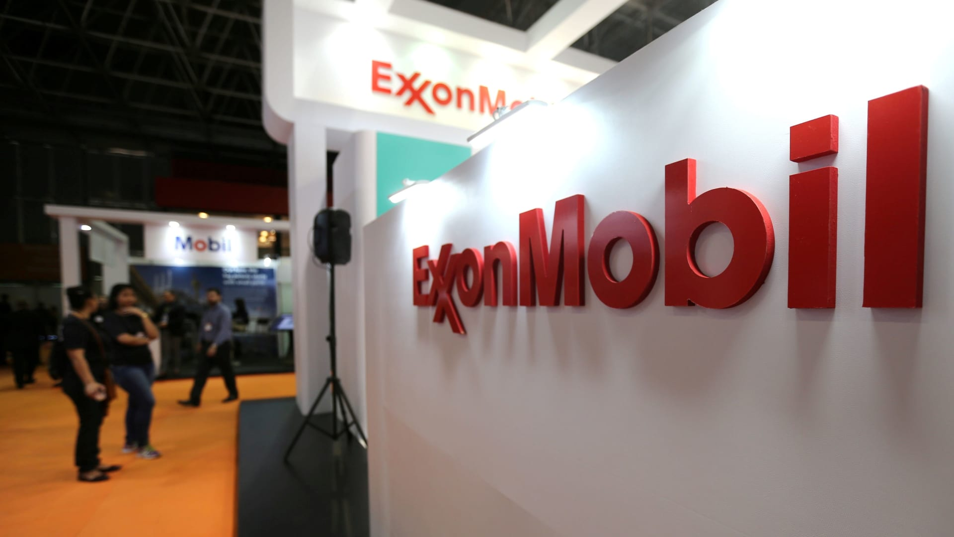 A logo of the Exxon Mobil Corp is seen at the Rio Oil and Gas Expo and Conference in Rio de Janeiro, Brazil September 24, 2018.