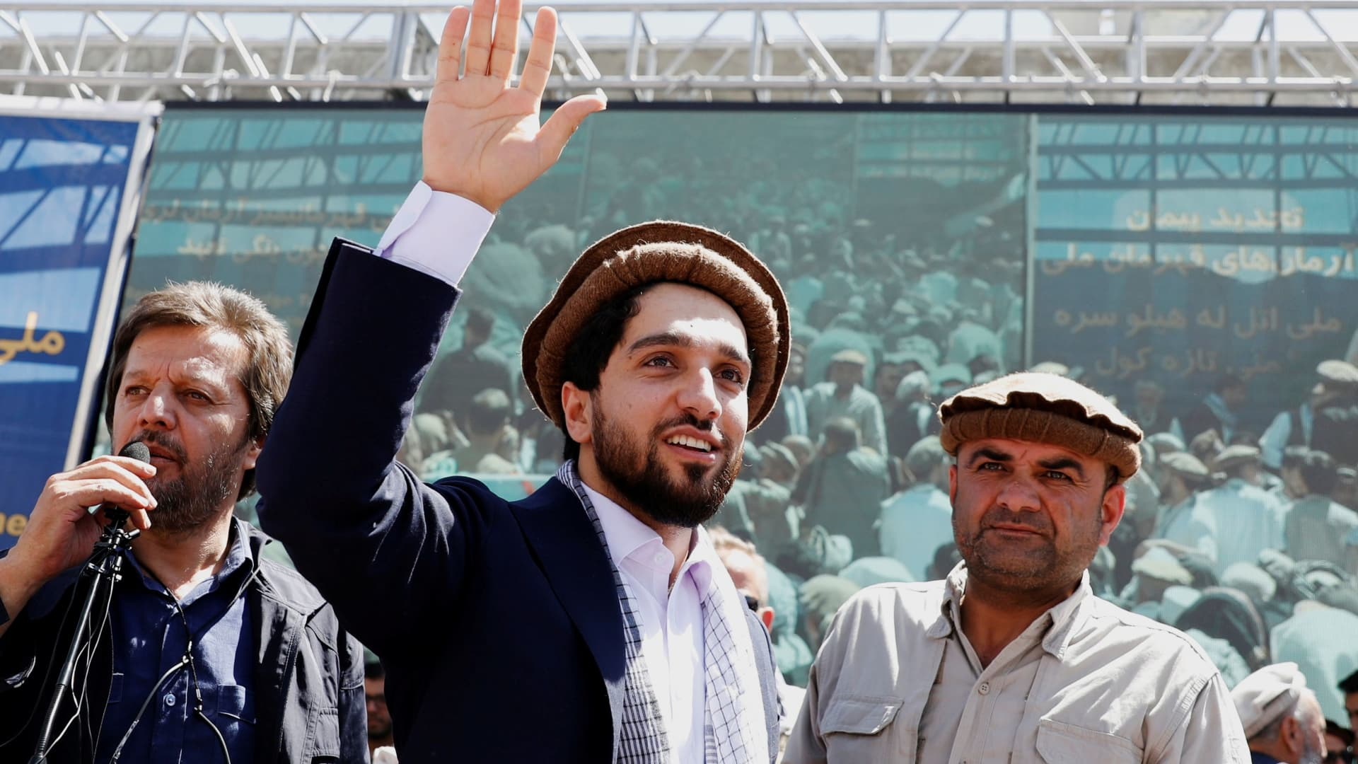 Ahmad Massoud, son of Afghanistan's slain anti-Soviet resistance hero Ahmad Shah Massoud, waves as he arrives to attend a gathering in Bazarak, Panjshir province, Afghanistan, September 5, 2019.