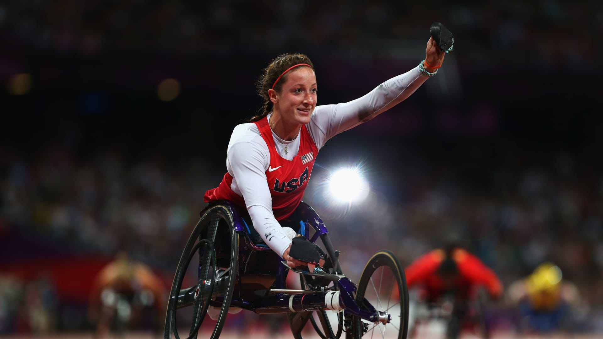 Tatyana Mcfadden of the United States wins gold in the Women's 400m - T54 Final on day 5 of the London 2012 Paralympic Games at Olympic Stadium on September 3, 2012 in London, England. (Photo by Michael Steele/Getty Images)