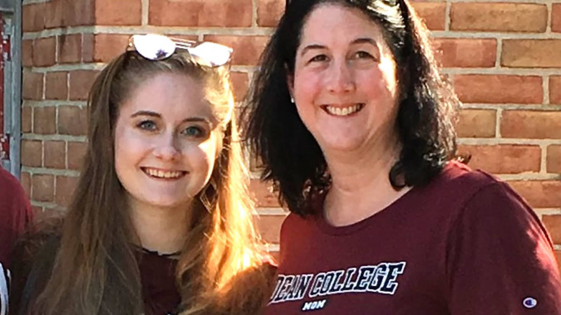 Laura Hoder with her daughter at Dean College.