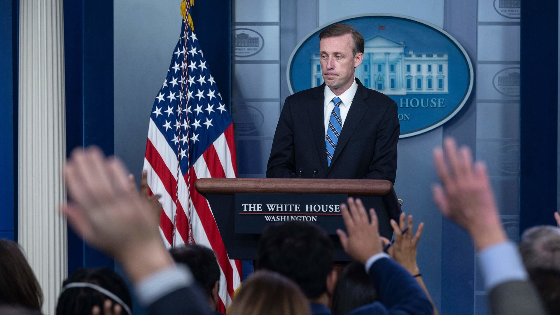 National Security Adviser Jake Sullivan speaks during the daily press briefing at the White House in Washington, DC, on August 23, 2021.