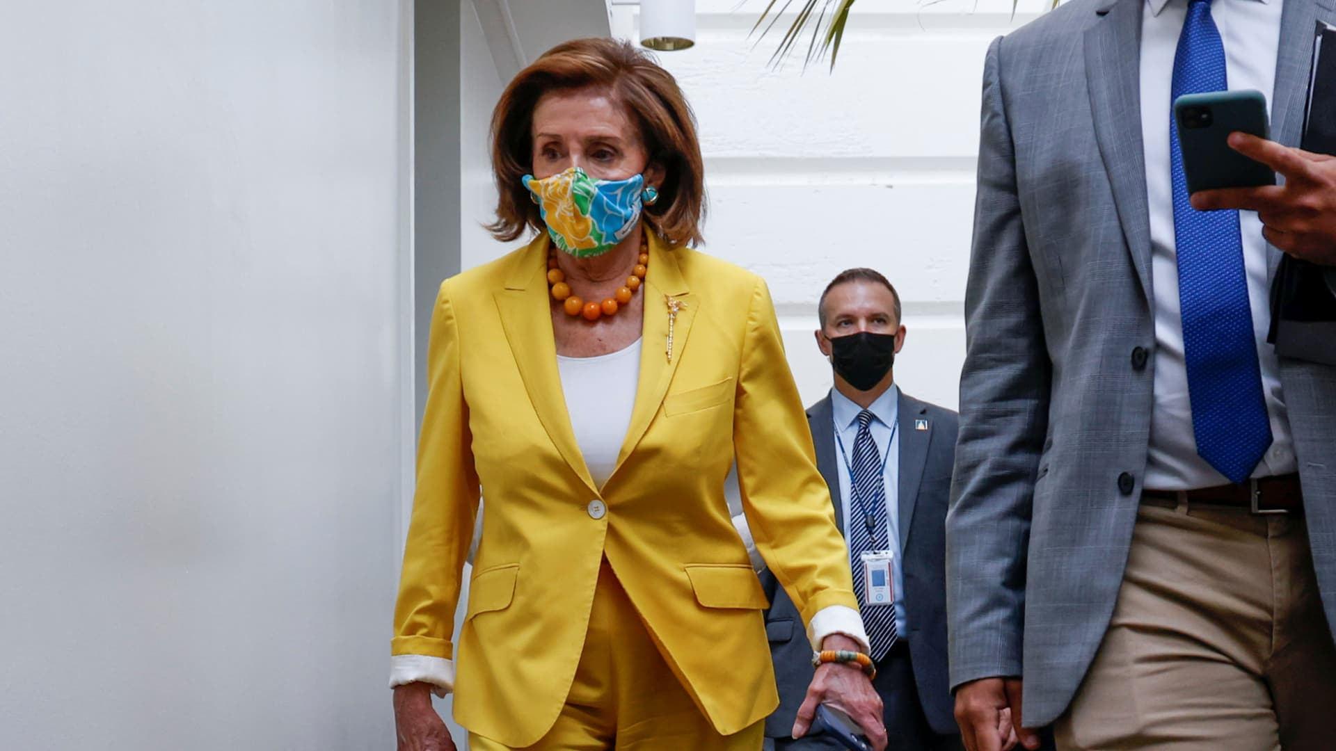 U.S. House Speaker Nancy Pelosi (D-CA) arrives for a House Democratic caucus meeting amidst ongoing negotiations over budget and infrastructure legislation at the U.S. Capitol in Washington, U.S. August 24, 2021.