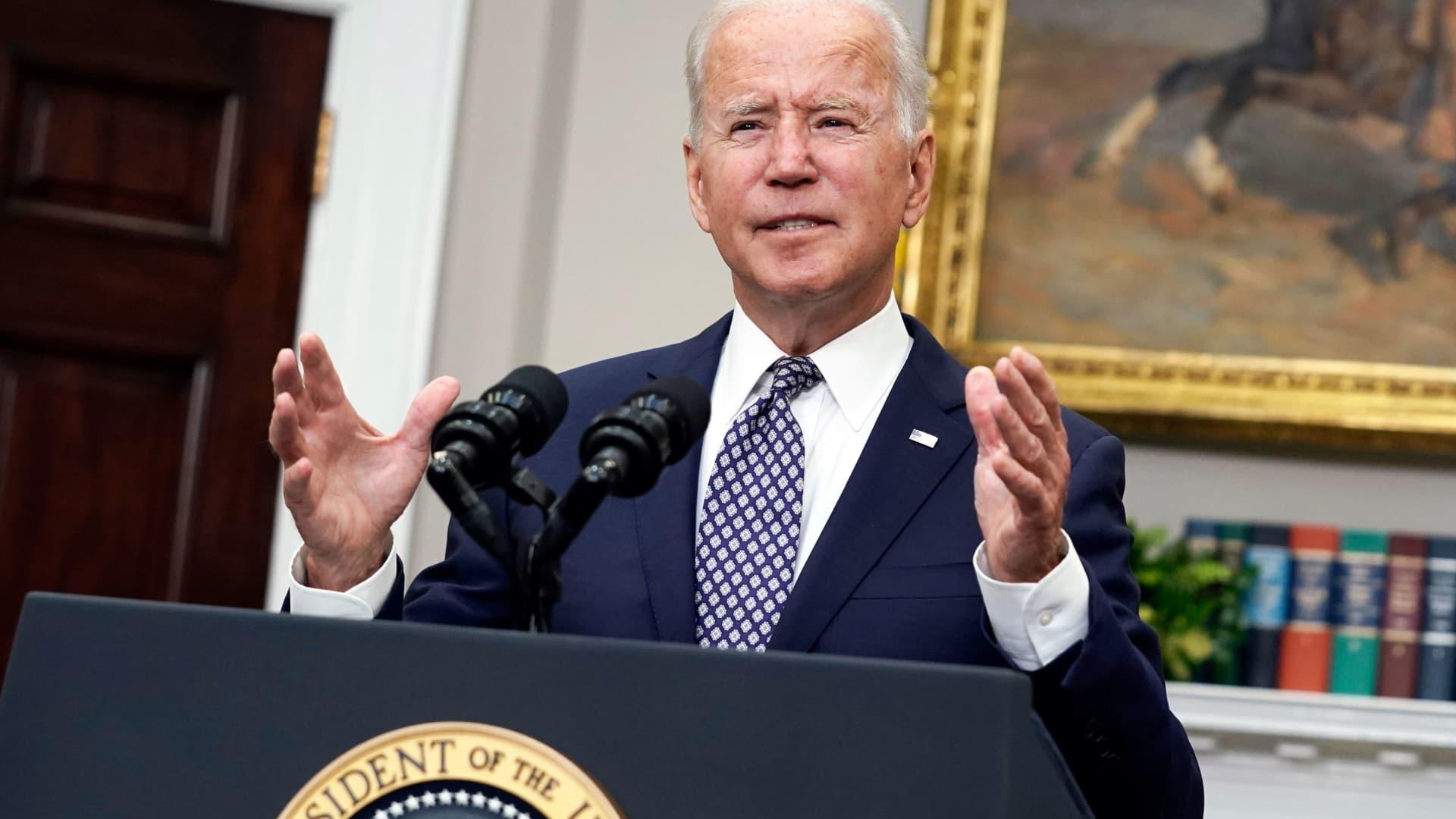 U.S. President Joe Biden speaks in the Roosevelt Room of the White House in Washington, D.C., on Tuesday, Aug. 24, 2021.