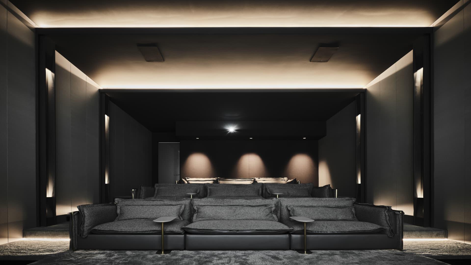 The spacious cinema room.