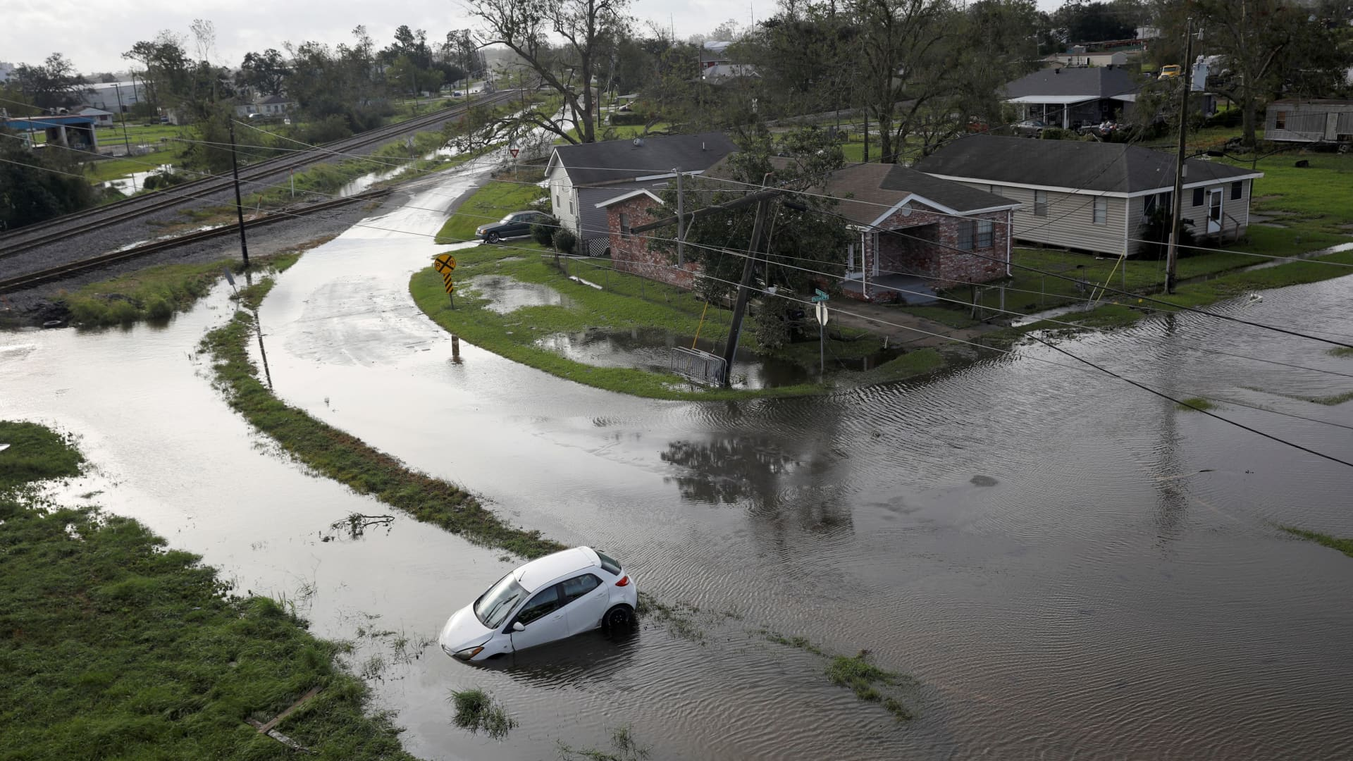 Flooded streets are pictured after Hurricane Ida made landfall in Louisiana, in Kenner, Louisiana,August 30, 2021.