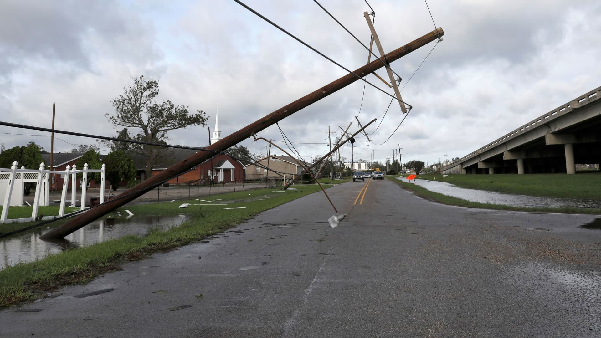 A damaged electric line is pictured after Hurricane Ida made landfall in Louisiana, in Kenner, Louisiana, August 30, 2021.