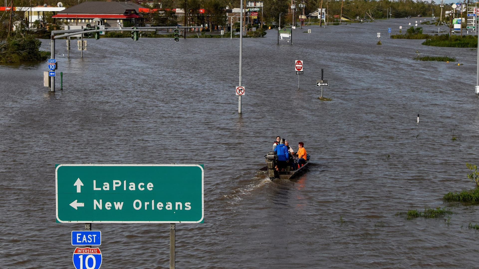 Highway 51 is flooded after Hurricane Ida struck LaPlace, Louisiana, August 30, 2021.