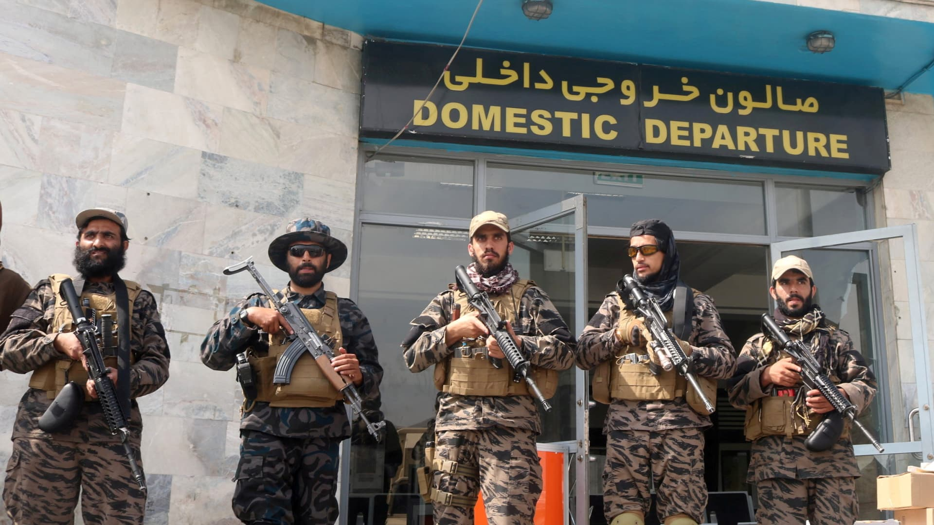 Taliban forces stand guard a day after the U.S. troops withdrawal from Hamid Karzai International Airport in Kabul, Afghanistan August 31, 2021.