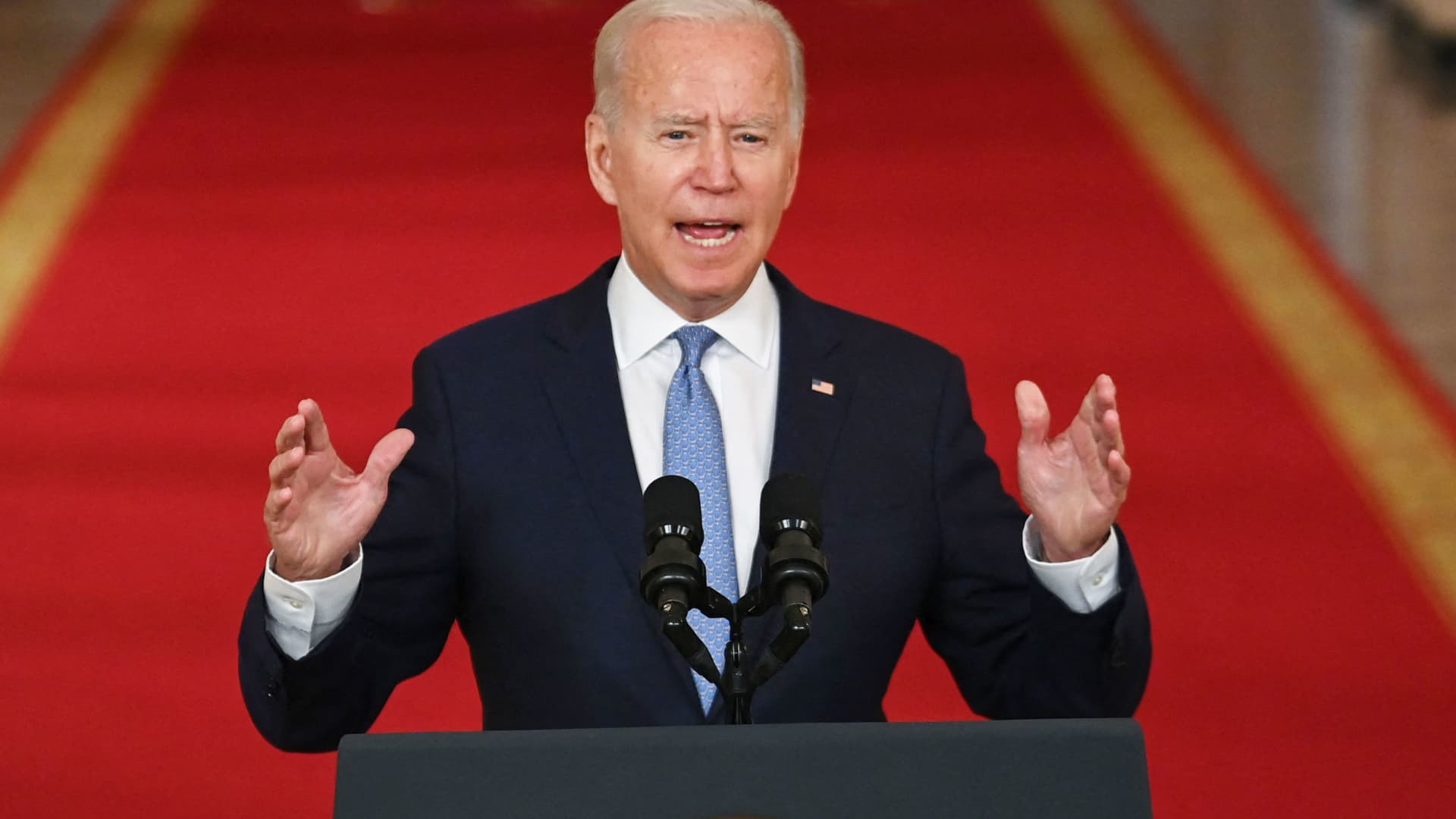 US President Joe Biden speaks on ending the war in Afghanistan in the State Dining Room at the White House in Washington, DC, on August 31, 2021.