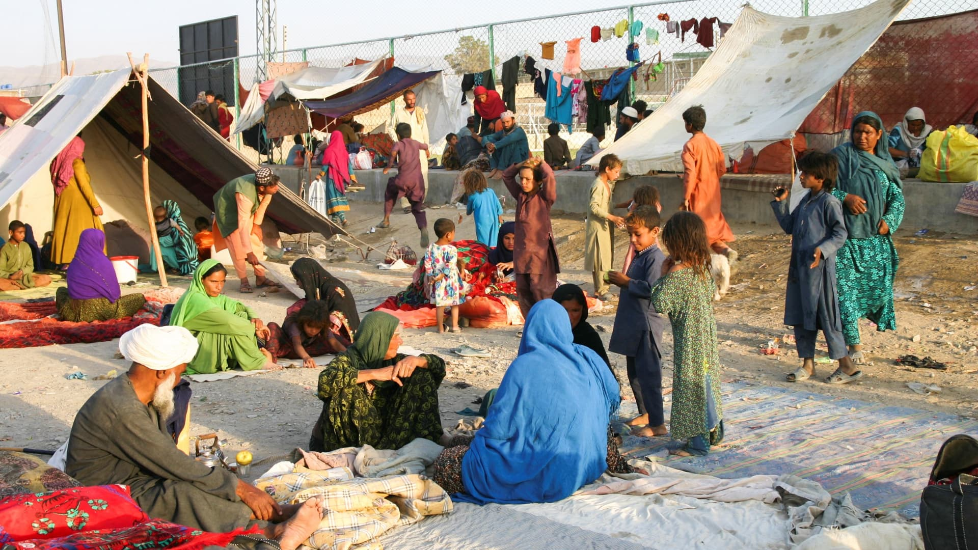 Families who arrived from Afghanistan are seen at their makeshift tents as they take refuge near a railway station in Chaman, Pakistan September 1, 2021.
