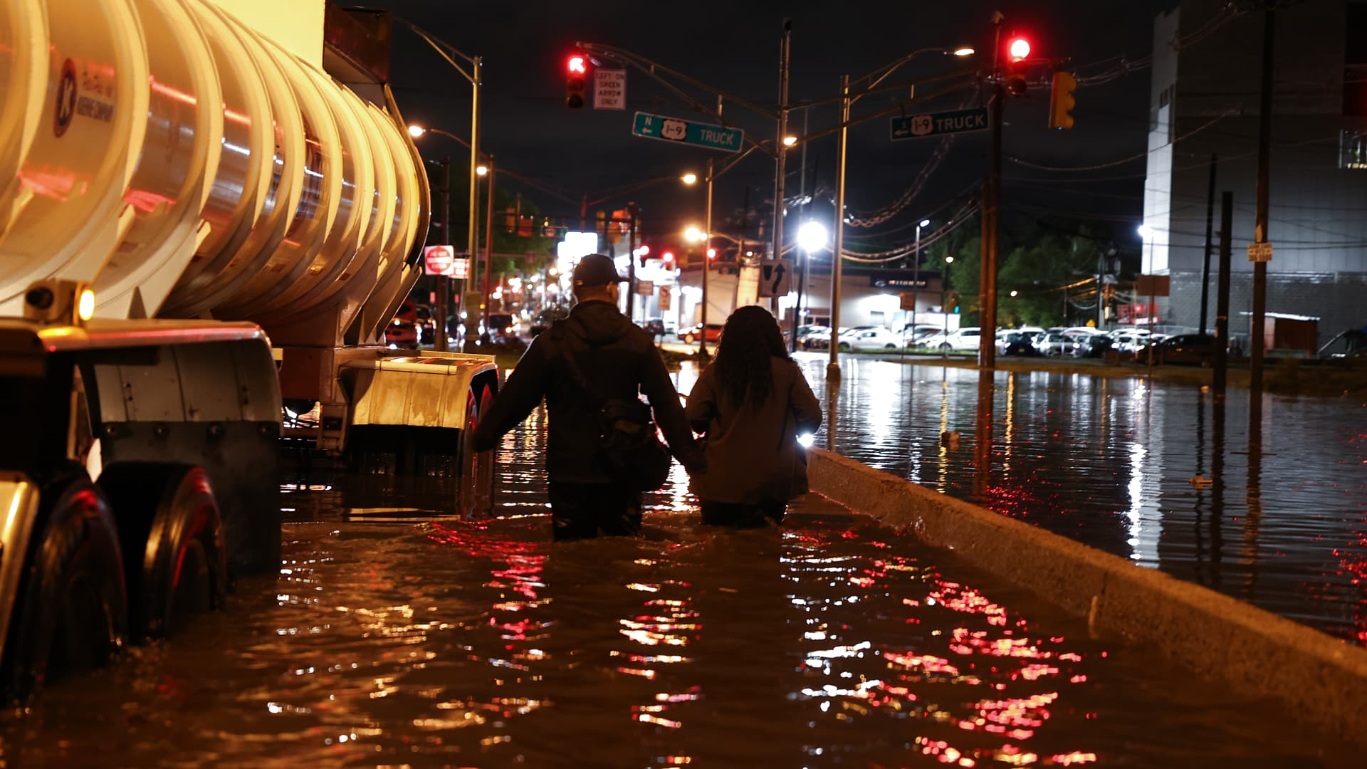 Highway 440 flooded in Jersey City of New Jersey, United States on September 2, 2021 as hundreds of cars stuck in water as Hurricane Ida left behind flash floods east coast.