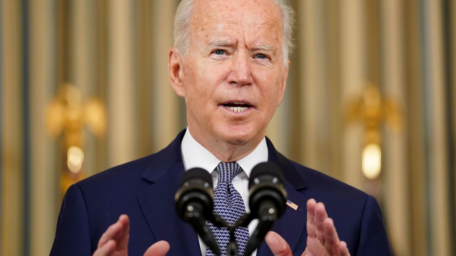 U.S. President Joe Biden delivers remarks on the August Jobs Report at the White House in Washington, September 3, 2021.
