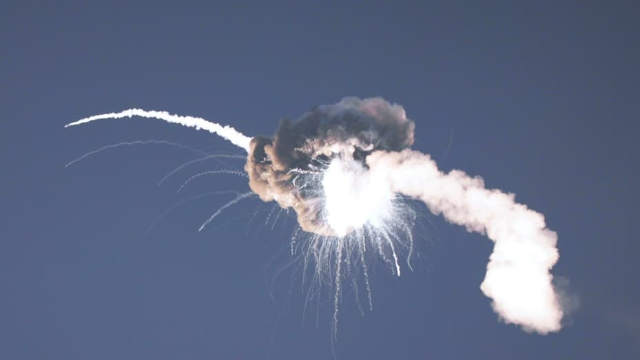 The flight termination system on Firefly Aerospace's Alpha rocket detonates after it launched from Vandenberg Space Force Base on September 2, 2021.