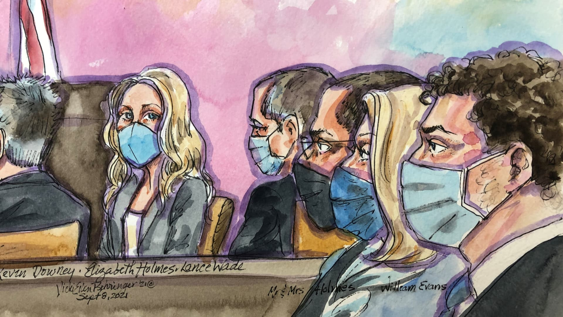 Theranos founder Elizabeth Holmes appears at Robert F. Peckham U.S. Courthouse for opening arguments in her trial, in San Jose, California, U.S., September 8, 2021 in this courtroom sketch.
