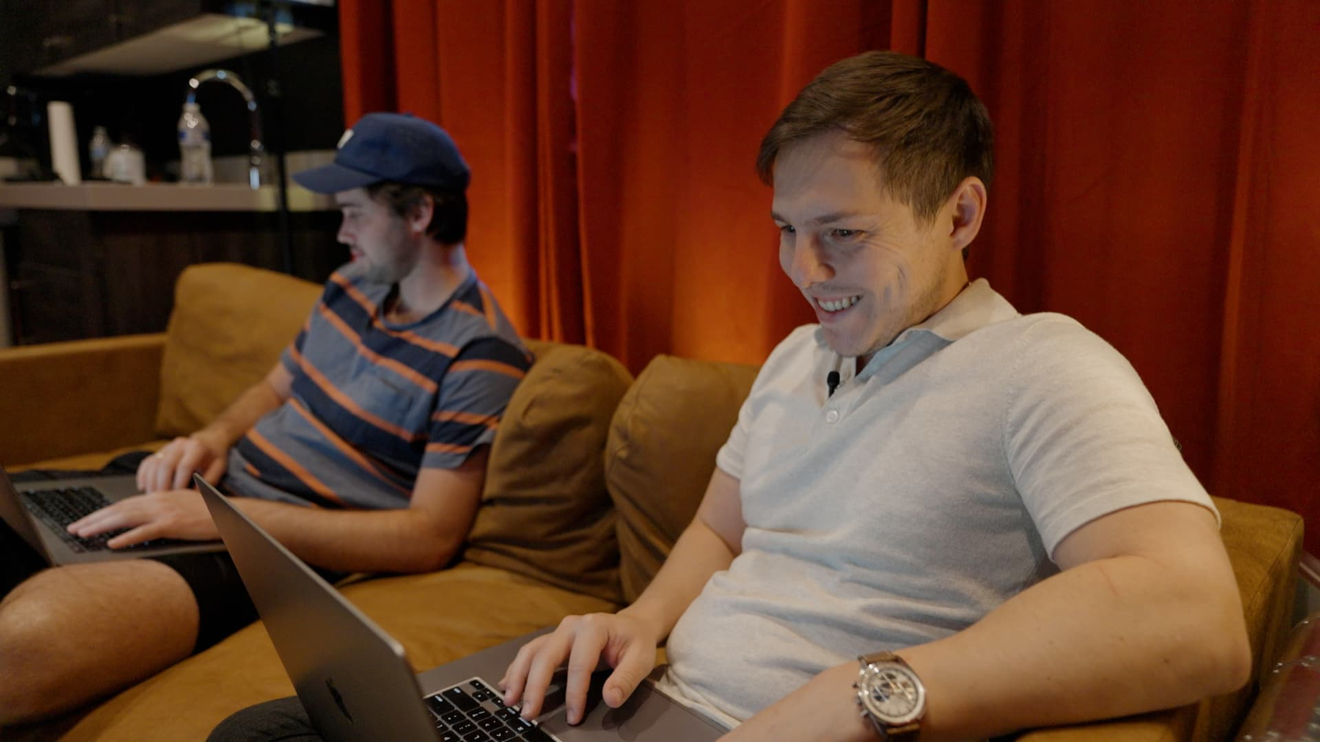 Stephan working with his editor, Jack, who also lives with him.