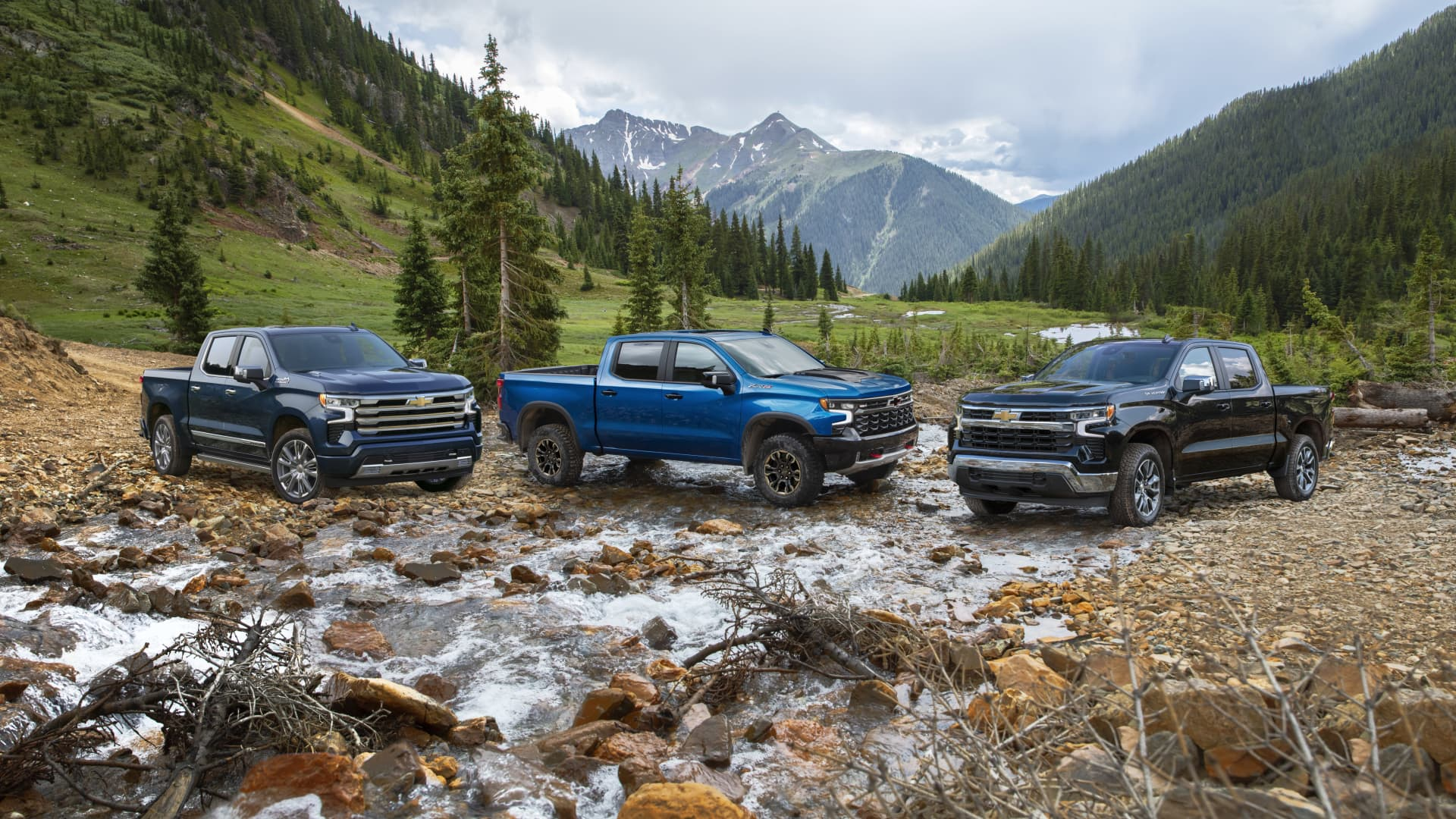 The 2022 Chevrolet Silverado High Country, ZR2 and LT models (from left to right).