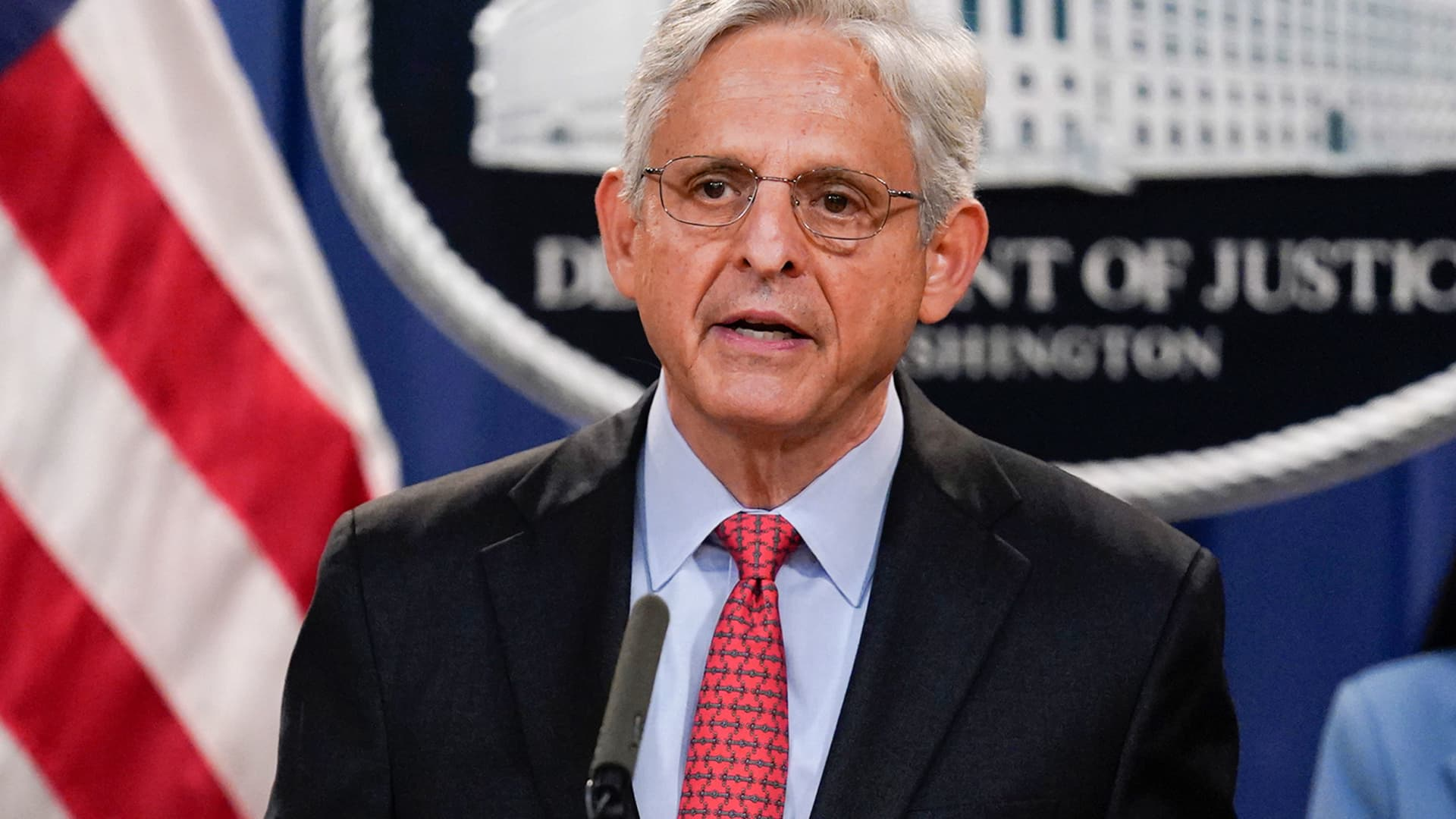 Attorney General Merrick Garland announces a lawsuit to block the enforcement of new Texas law that bans most abortions at the Justice Department in Washington, Thursday, Sept. 9, 2021.