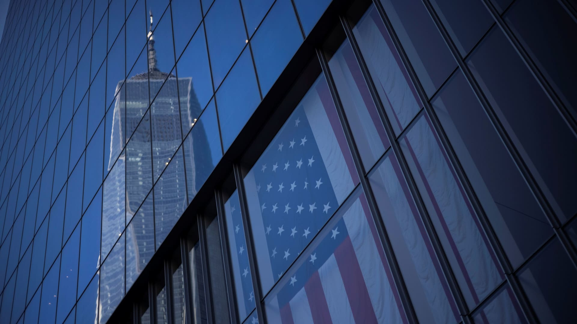 The One World Trade Center is reflected on a nearby building ahead of the 20th anniversary of the September 11 attacks in Manhattan, New York City, U.S., September 10, 2021.