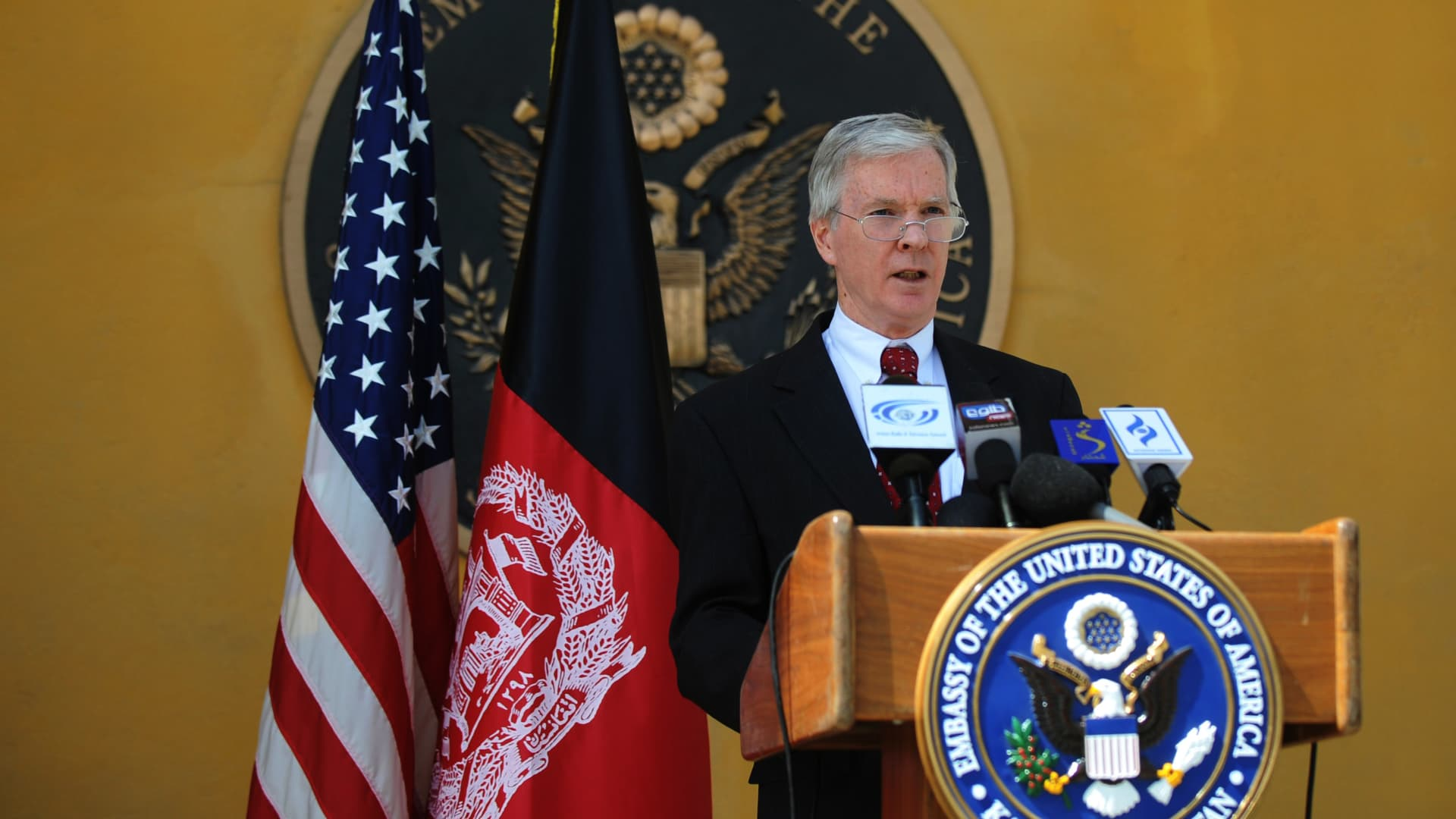 Ryan Crocker, the US Ambassador to Afghanistan speaks to journalists during a presser in Kabul on September 22, 2011.