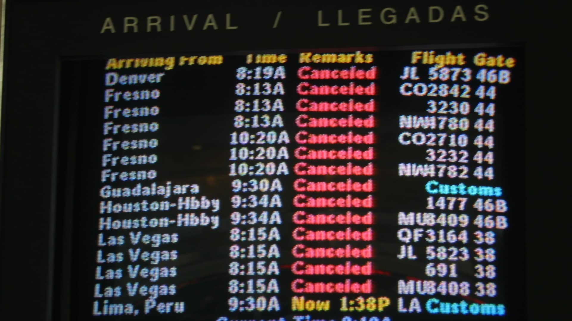Cancelled flights are displayed on monitors at the Los Angeles Airport terminal September 10, 2001 in Los Angeles, CA.