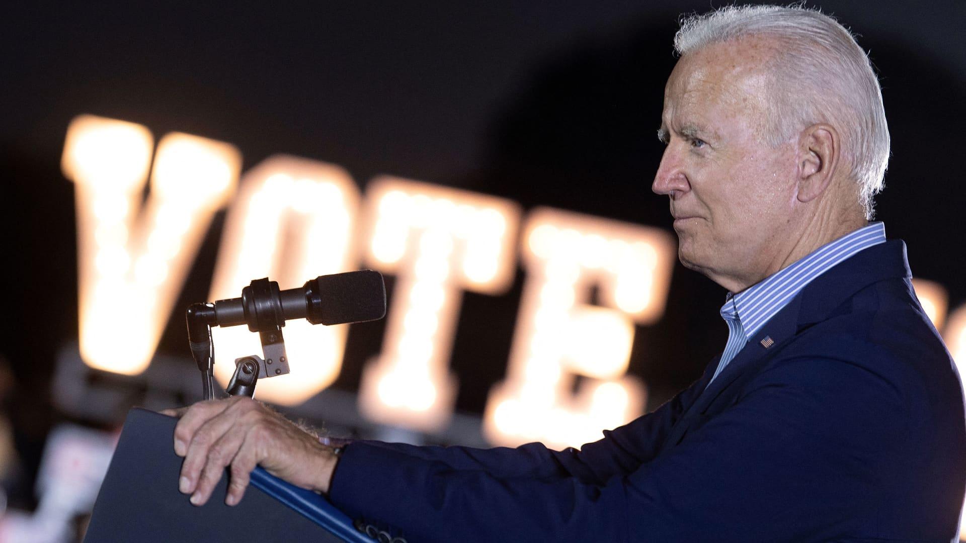 US President Joe Biden speaks during a campaign event for California Governor Gavin Newsom at Long Beach City Collage in Long Beach, California on September 13, 2021.