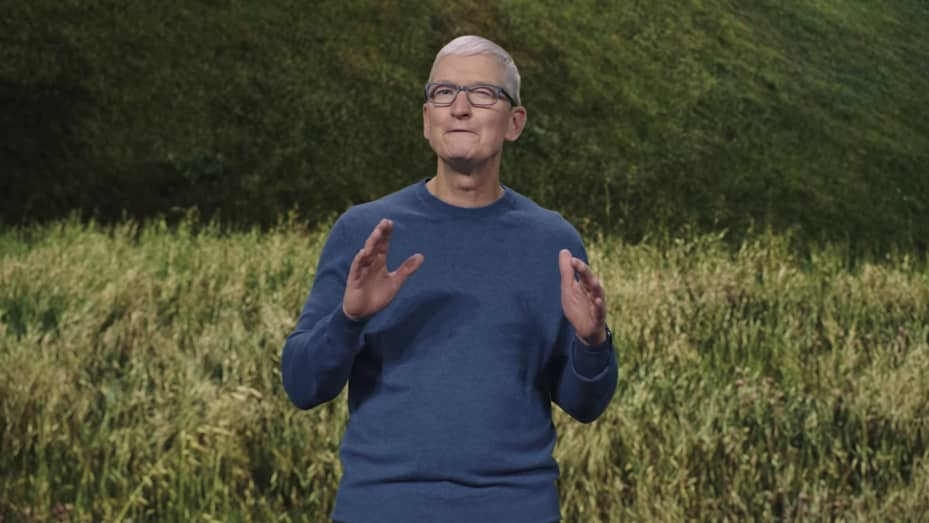 Tim Cook opens the Apple Event on Sept. 14th, 2021.