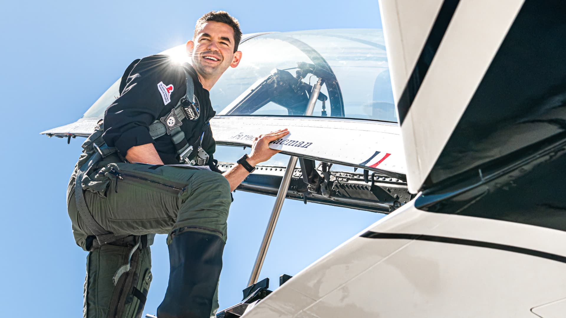 Jared Isaacman boards a U.S. Air Force Thunderbirds fighter jet during a flight on April 9, 2021.