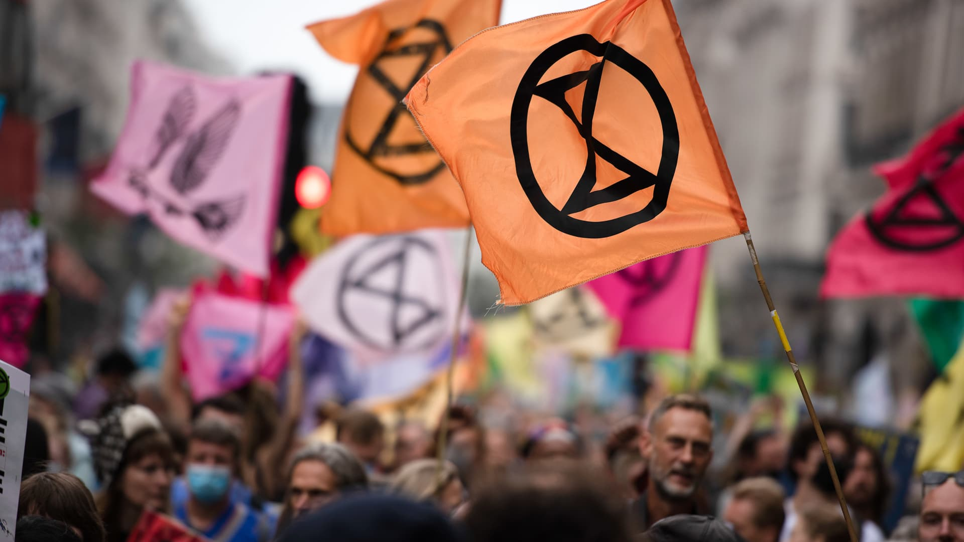 Activists march with flags and placards, during the march at Extinction Rebellion's Nature Protest held in Central London about how nature is in crisis.