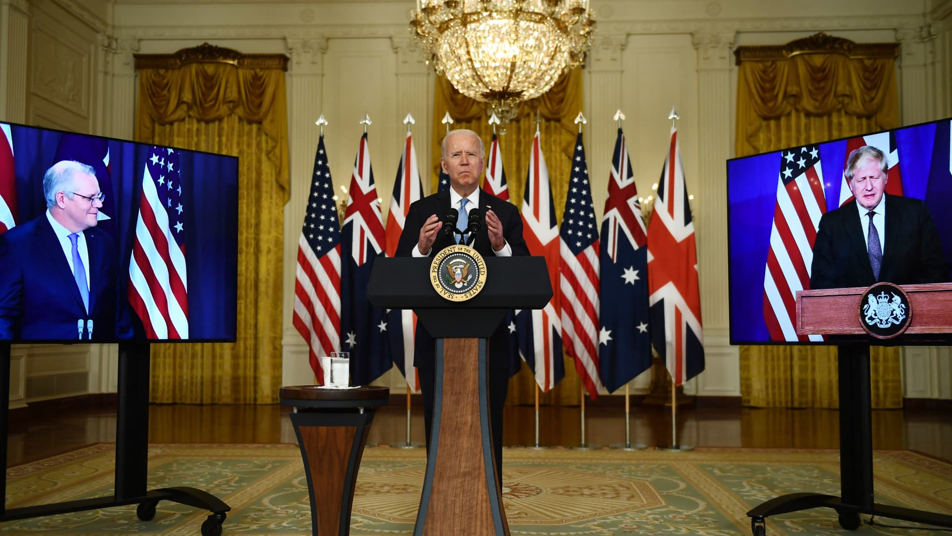 U.S. President Joe Biden in a virtual press conference with British Prime Minister Boris Johnson (R) and Australian Prime Minister Scott Morrison on Sep. 15, 2021. The three leaders announced a new security partnership to strengthen stability in Indo-Pacific.