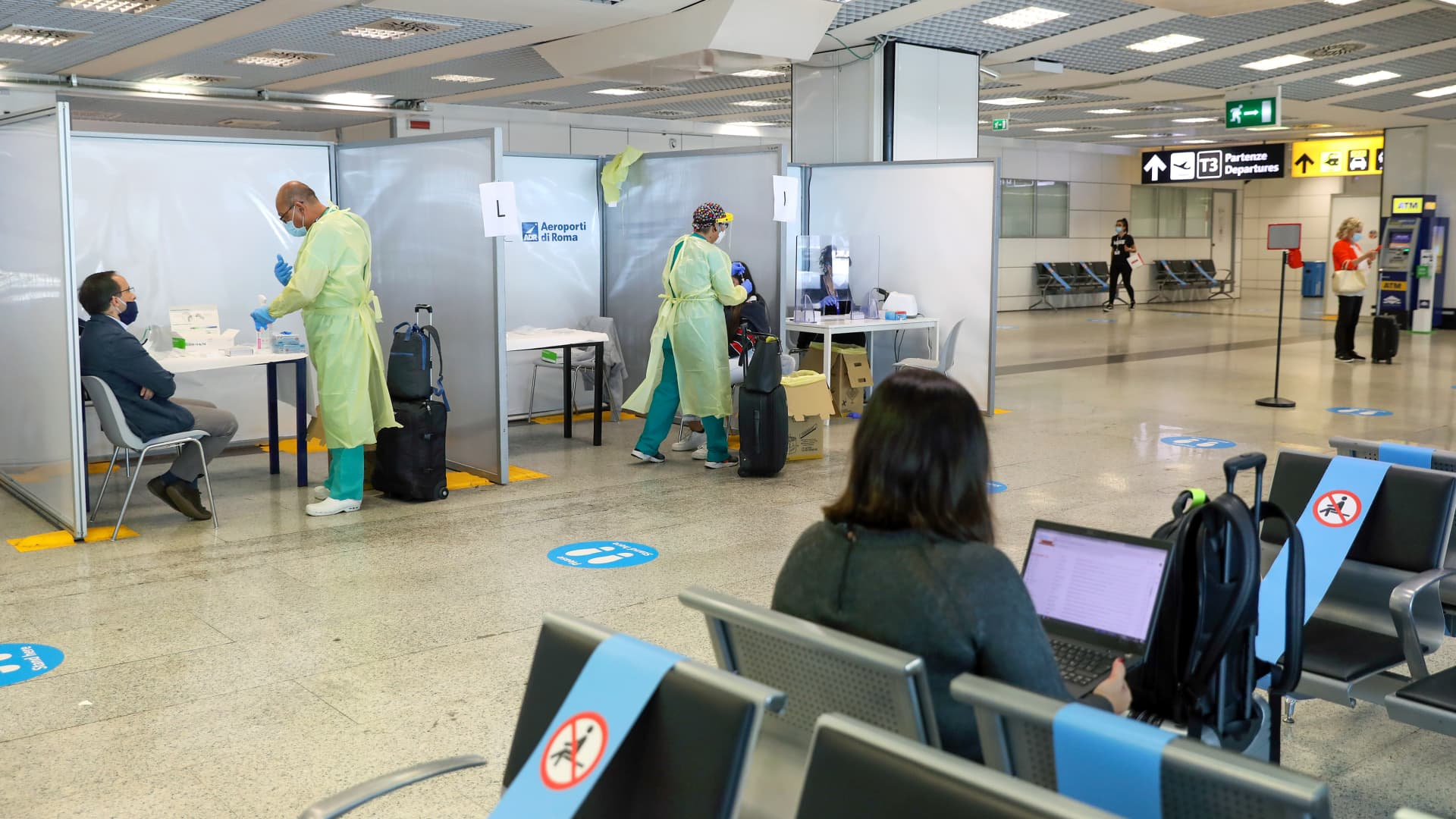 Though airports weren't designed for large-scale medical testing, many set up makeshift facilities last year, such as Rome's Fiumicino International Airport shown here.