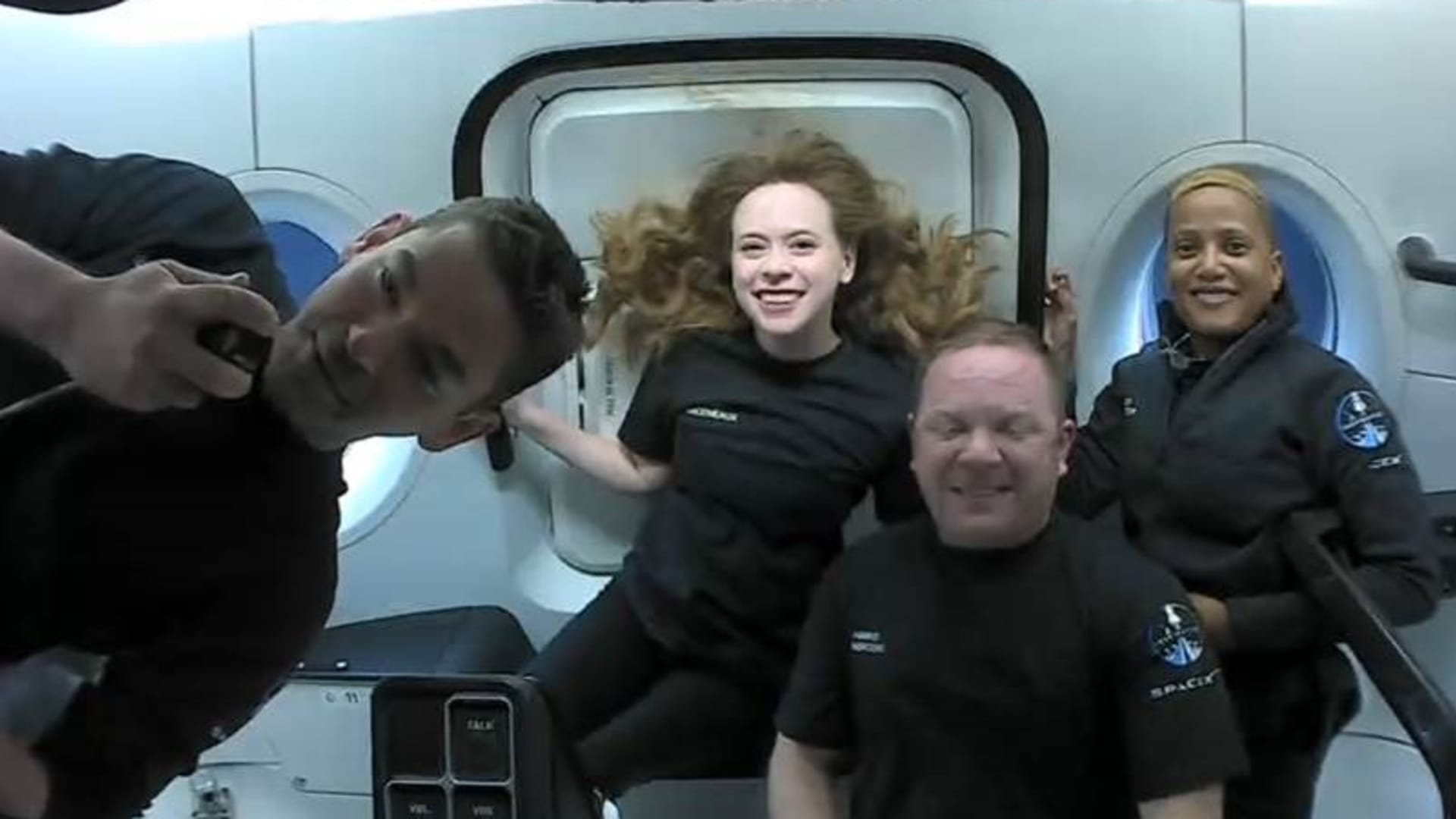 The first look at the crew in orbit, from left: Jared Isaacman, Hayley Arceneaux, Chris Sembroski, Sian Proctor.