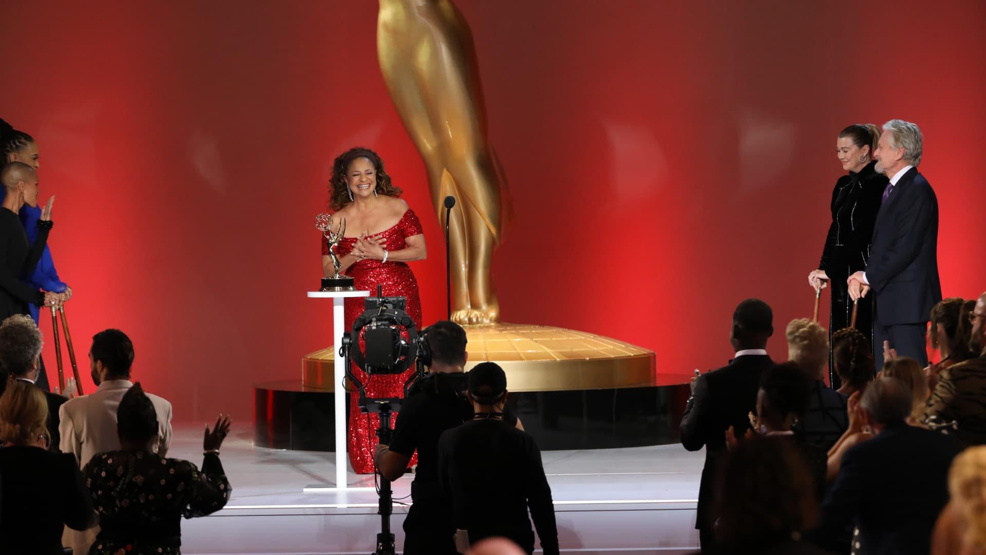 Jada Pinkett Smith, Ava DuVernay, Debbie Allen, Ellen Pompeo, and Michael Douglas appear at the 73rd Emmy Awards.