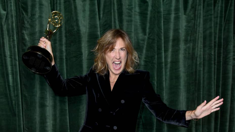 """Jessica Hobbs celebrates winning the Emmy award for 'Outstanding Directing for a Drama Series', at the """"The Crown"""" 73rd Primetime Emmys Celebration at Soho House on September 19, 2021 in London, England."""