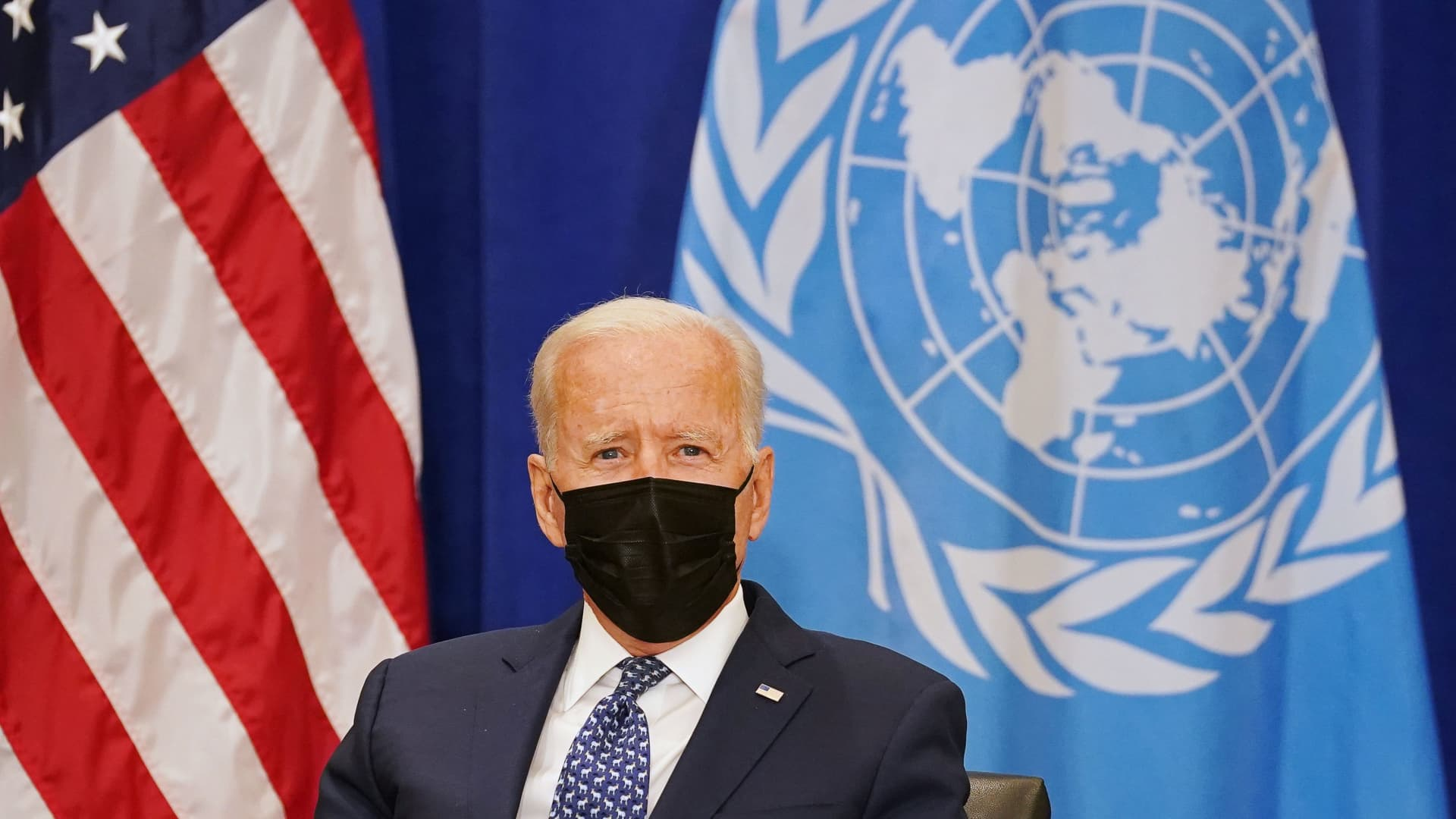 U.S. President Joe Biden meets with United Nations Secretary-General Antonio Guterres at the 76th Session of the U.N. General Assembly in New York, September 20, 2021.