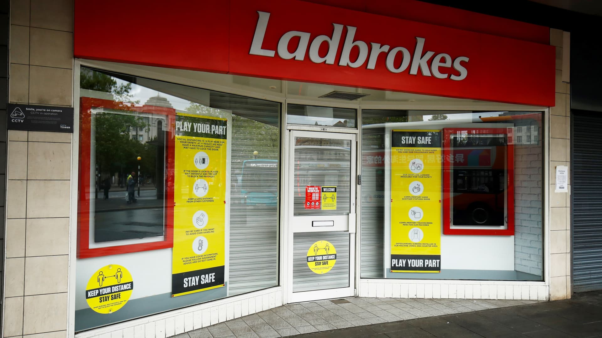 A closed Ladbrokes is seen in Manchester, following the outbreak of the coronavirus disease (COVID-19), Manchester, Britain, June 12, 2020.