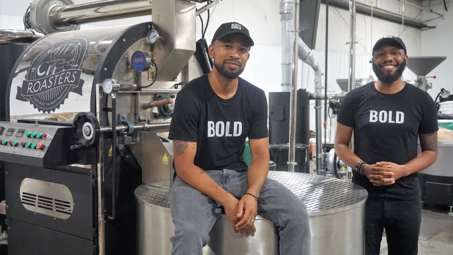 Pernell Cezar and Rod Johnson, the founders of BLK & Bold, in their company's Des Moines, Iowa roasting facility.