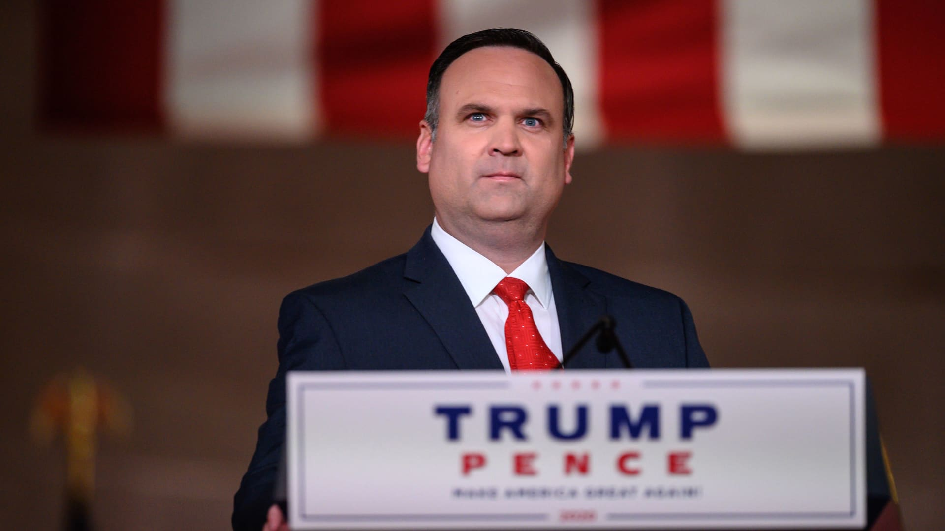 White House Deputy Chief of Staff for Communications Dan Scavino addresses the Republican National Convention in a pre-recorded speech at the Andrew W. Mellon Auditorium in Washington, DC, on August 26, 2020.
