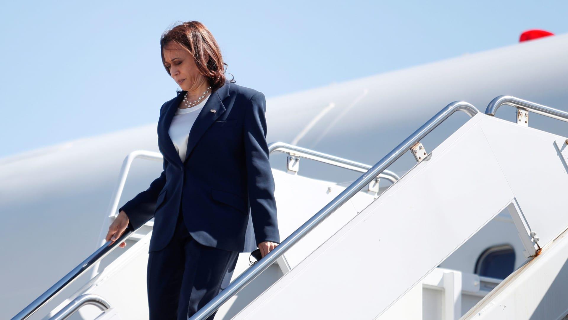 U.S. Vice President Kamala Harris descends from Air Force Two at Newport News/Williamsburg International Airport, in Newport News, Virginia, U.S., September 10, 2021.